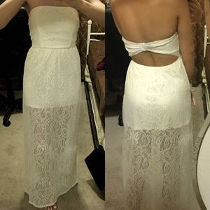 ✨Charlotte Russe✨ White Strapless Long Lace Dress